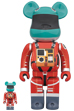 BE@RBRICK SPACE SUIT GREEN HELMET & ORANGE SUIT Ver.100% & 400%