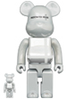 BE@RBRICK MEDICOM TOY PLUS WHITE CHROME Ver. 100% & 400%